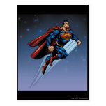 Superman against the night sky postcard