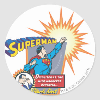 Superman and Clark Kent Classic Round Sticker