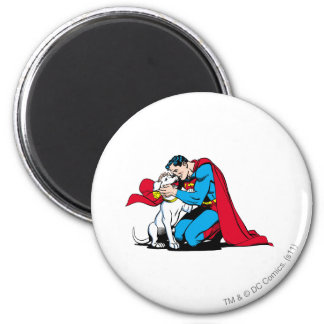 Superman and Krypto 2 Inch Round Magnet