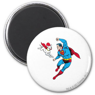 Superman and Krypto 2 2 Inch Round Magnet