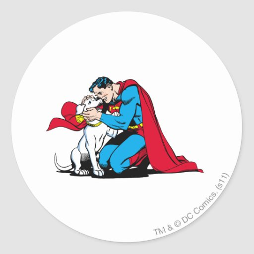 Superman and Krypto Round Stickers