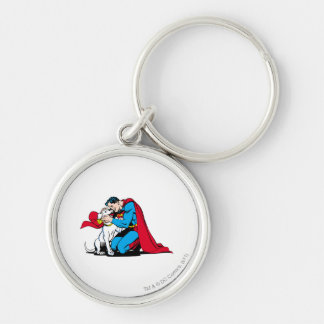 Superman and Krypto Silver-Colored Round Keychain