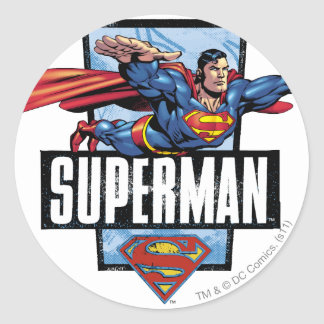 Superman and Logo Bordered Classic Round Sticker
