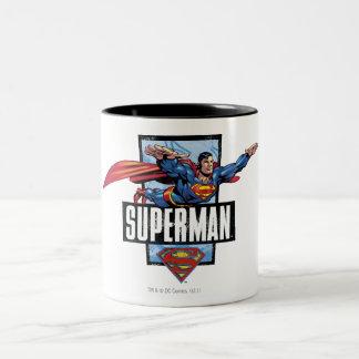 Superman and Logo Bordered Two-Tone Coffee Mug