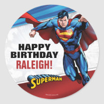 Superman Birthday Classic Round Sticker