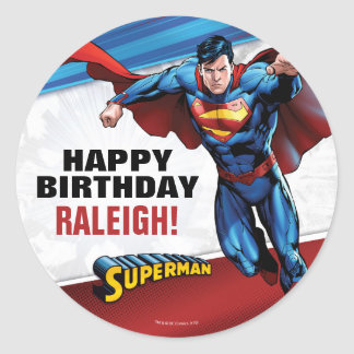 Superman Birthday Classic Round Sticker