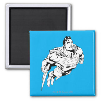 Superman Black and White 1 2 Inch Square Magnet