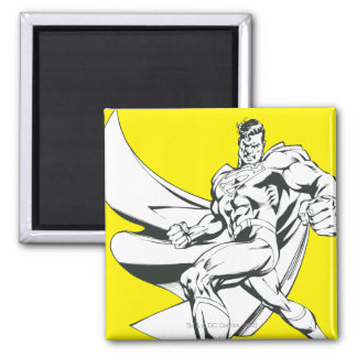 Superman Black and White 2 2 Inch Square Magnet