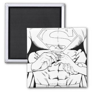 Superman Black and White 3 2 Inch Square Magnet