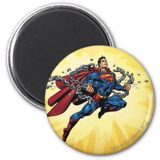 Superman breaks chains 2 inch round magnet
