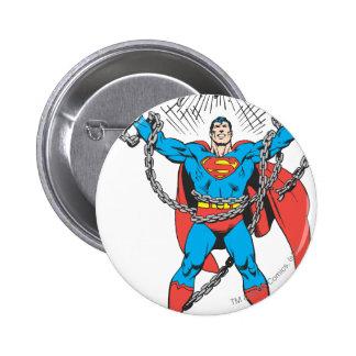 Superman Breaks Chains Pinback Button