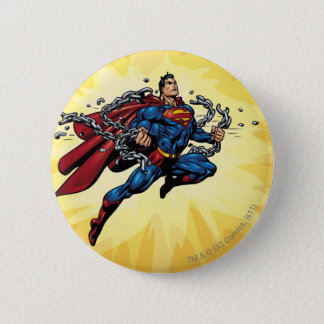 Superman breaks chains pinback button