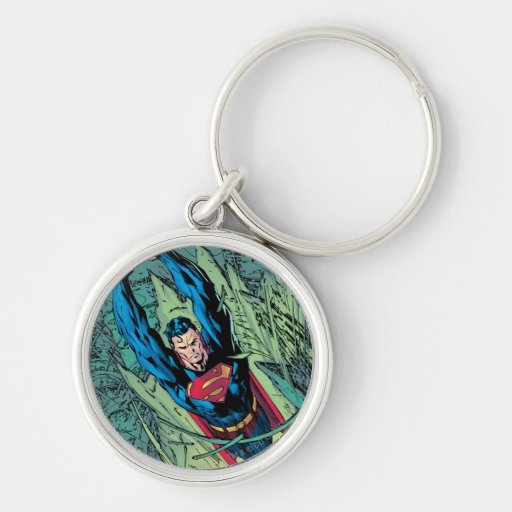 Superman breaks through Silver-Colored round keychain
