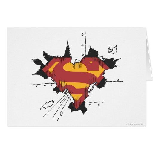 Superman broken metal greeting card