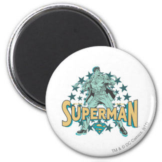 Superman changes with stars 2 inch round magnet