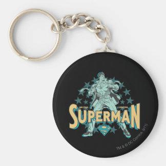 Superman changes with stars basic round button keychain