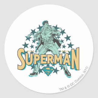 Superman changes with stars classic round sticker