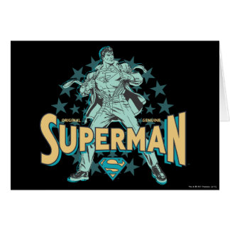 Superman changes with stars greeting card