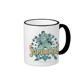 Superman changes with stars ringer coffee mug
