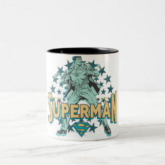 Superman changes with stars Two-Tone coffee mug