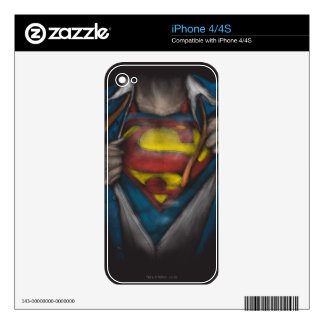Superman | Chest Reveal Sketch Colorized Skin For iPhone 4