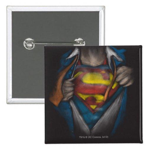 Superman Chest Sketch 2 2 Inch Square Button