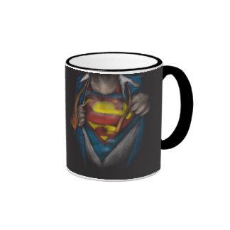Superman Chest Sketch 2 Ringer Mug