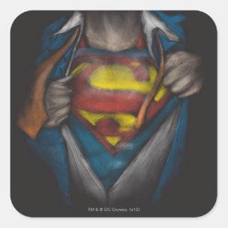 Superman Chest Sketch 2 Square Sticker