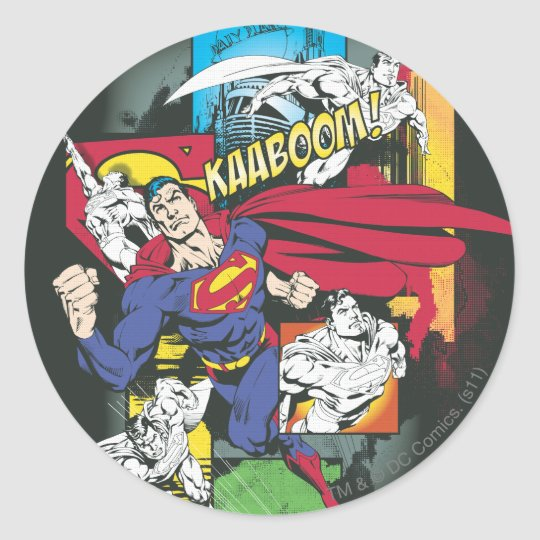 Superman Comic Black Classic Round Sticker