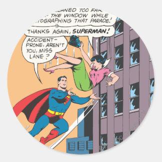 Superman Comic Panel - Accident-Prone Lois Classic Round Sticker