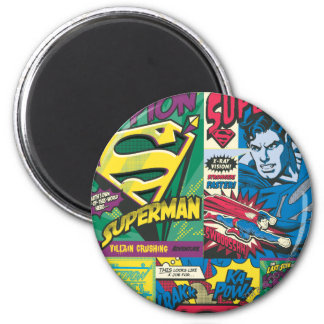 Superman Comic Panels 2 Inch Round Magnet
