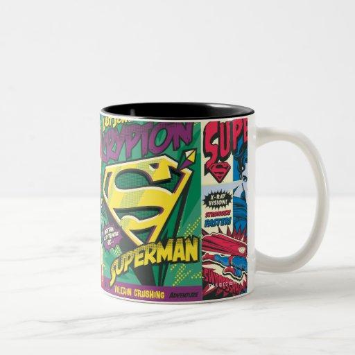 Superman Comic Panels Two-Tone Coffee Mug