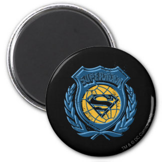 Superman Crest with Globe 2 Inch Round Magnet