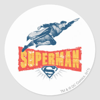 Superman distressed classic round sticker