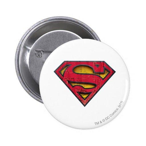 Superman Distressed Logo 2 Inch Round Button