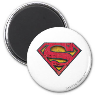 Superman Distressed Logo 2 Inch Round Magnet