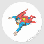 Superman Dives Left Round Stickers