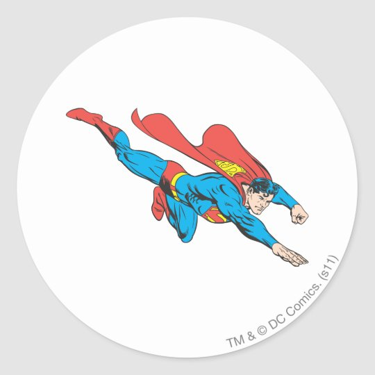 Superman Dives Right Classic Round Sticker