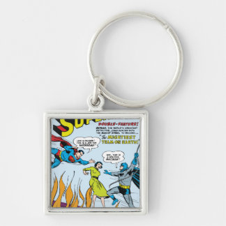 Superman (Double-Feature with Batman) Silver-Colored Square Keychain