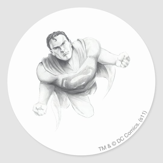 Superman Drawing Classic Round Sticker