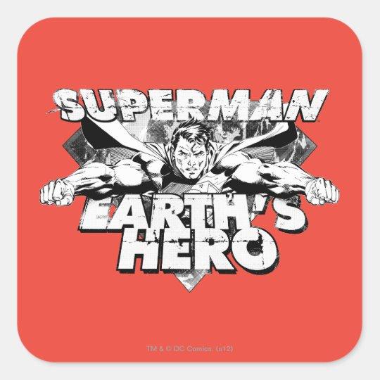 Superman Earth's Hero Square Sticker