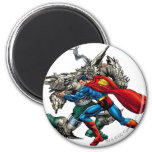 Superman Fights Enemy 2 Inch Round Magnet