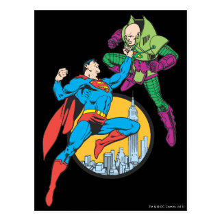 Superman Fights Lex Luthor Postcard