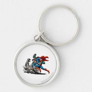 Superman Fights Monster Keychain