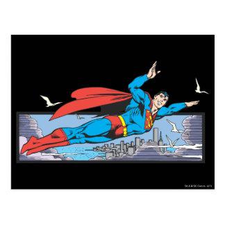 Superman Flies Thru City Postcard