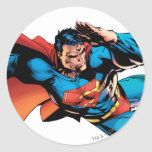 Superman Flying Kick Classic Round Sticker