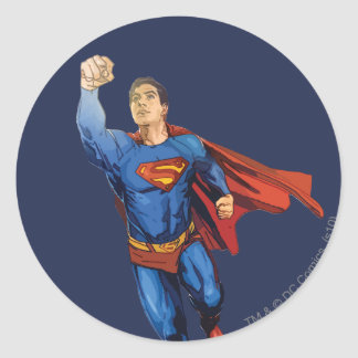 Superman Flying Left Classic Round Sticker