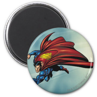Superman flys with cape 2 inch round magnet