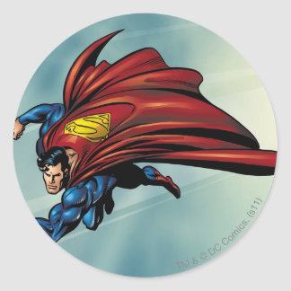 Superman flys with cape classic round sticker