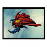 Superman flys with cape postcard
